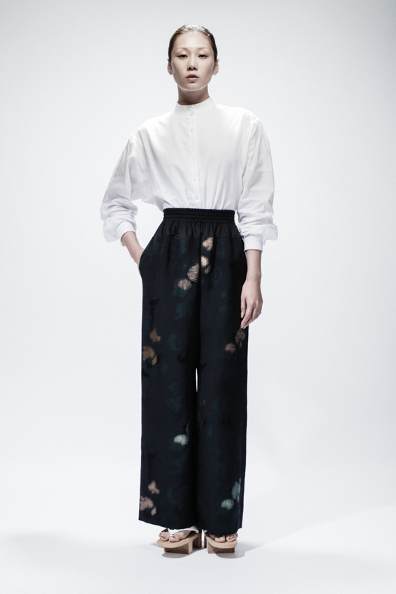 White Cotton Buttoned Shirt, Maxi Silk Trousers