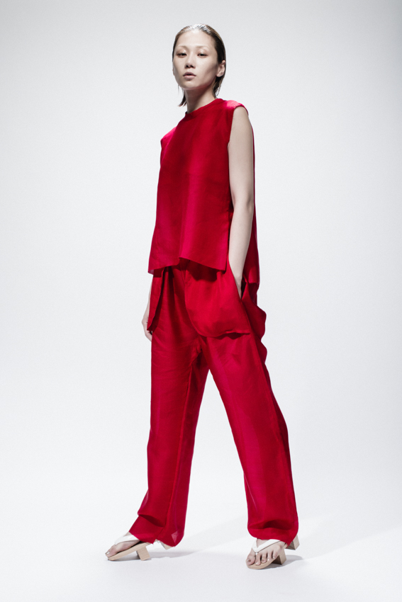 Red Silk Top, Red Silk Trousers